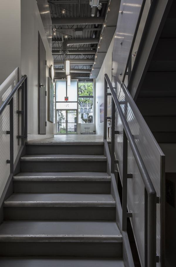 View of the entry from the main stair (photo: Steven Evans Photography)