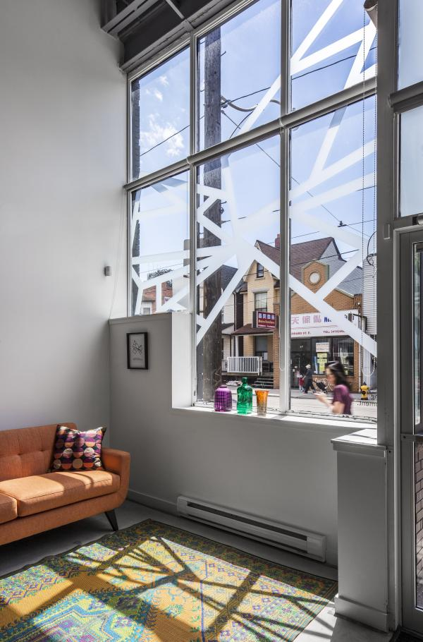 View of the lounge area with the street beyond (photo: Steven Evans Photography)