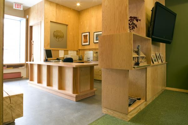 View of the front desk (photo: Peter Legris Photography)