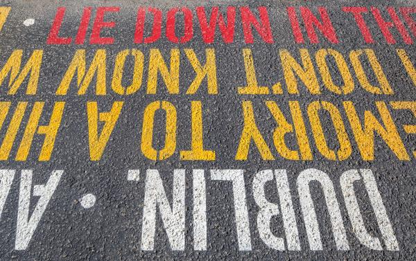 Some phrases face the sidewalk, and some the road (photo: Steven Evans Photography)
