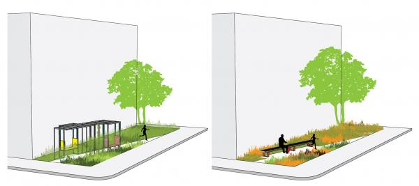 Covered Walk and Walk parkette typologies