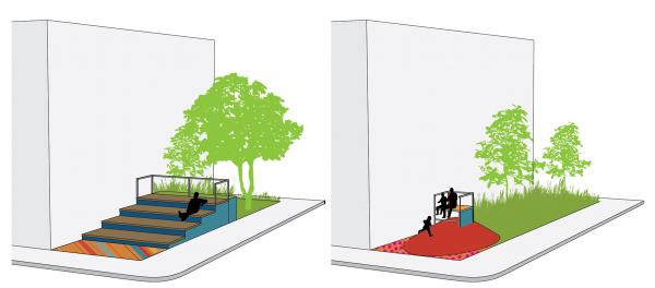 The Stage and Viewing Station parkette typologies