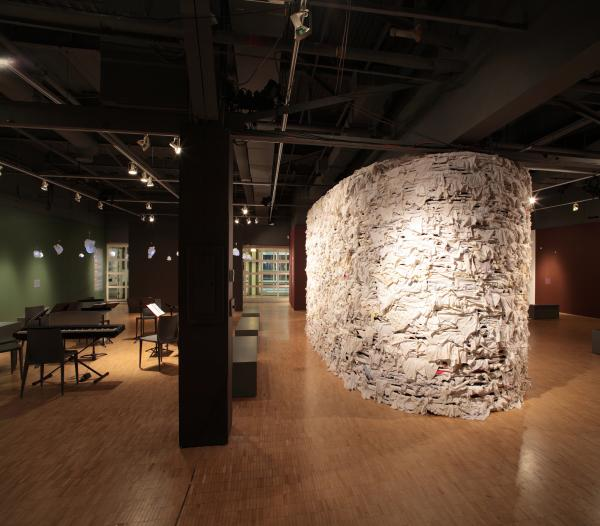 View of the wall between the spaces (photo: Peter Legris Photography)