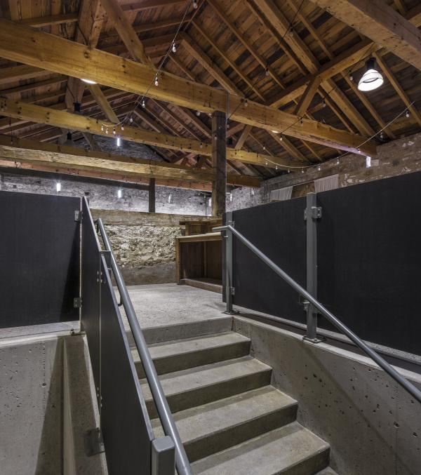 Slit Barn stair from the mud room (photo: Steven Evans Photogrpahy)
