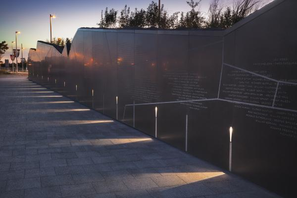 View of the memorial wall (photo: Steven Evans Photography)