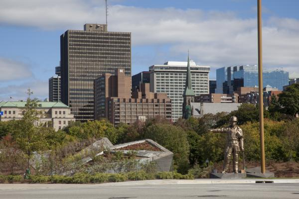 View of the memorial with downtown Ottawa behind (photo: Steven Evans Photography)