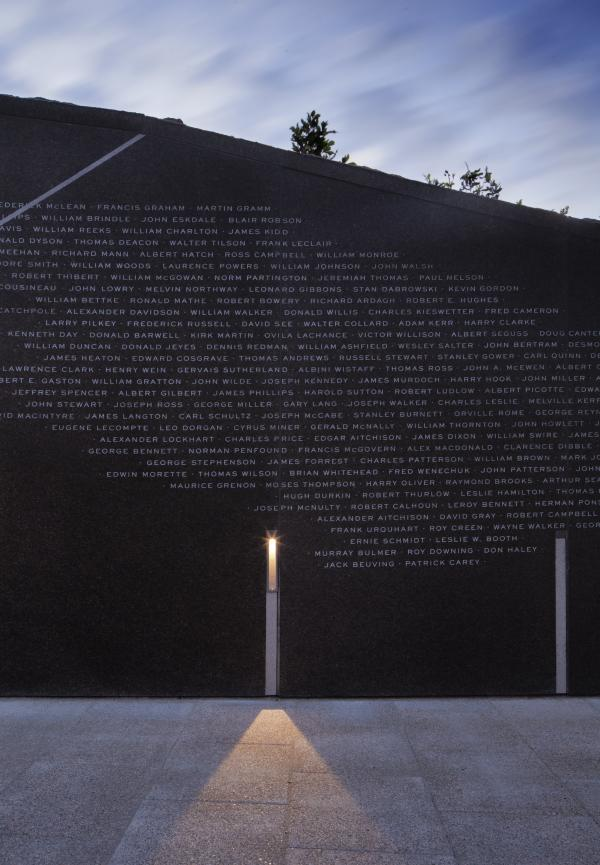 Detail view of the memorial wall (photo: Steven Evans Photography)