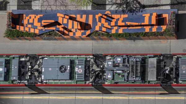 Parklet and streetcar from above (photo: Steven Evans Photography)
