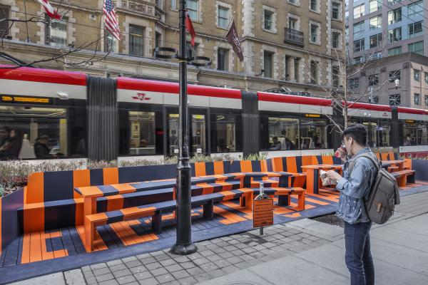 Parklet and streetcar (photo: Steven Evans Photography)