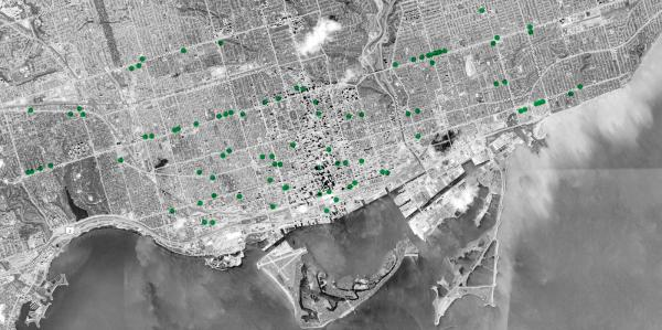 Aerial photograph of Green P parking lot locations in downtown Toronto
