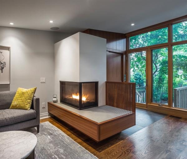 The floating fireplace (photo: Steven Evans Photography)